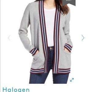 Halogen Varsity Knit Cardigan in Gray